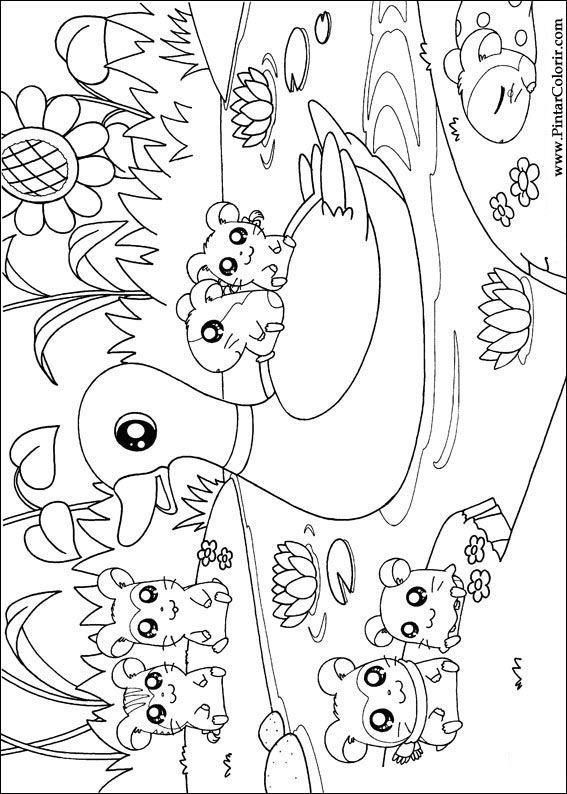 Dibujos para pintar y color hamtaro dise o de impresi n 018 - Disenos para pintar ...