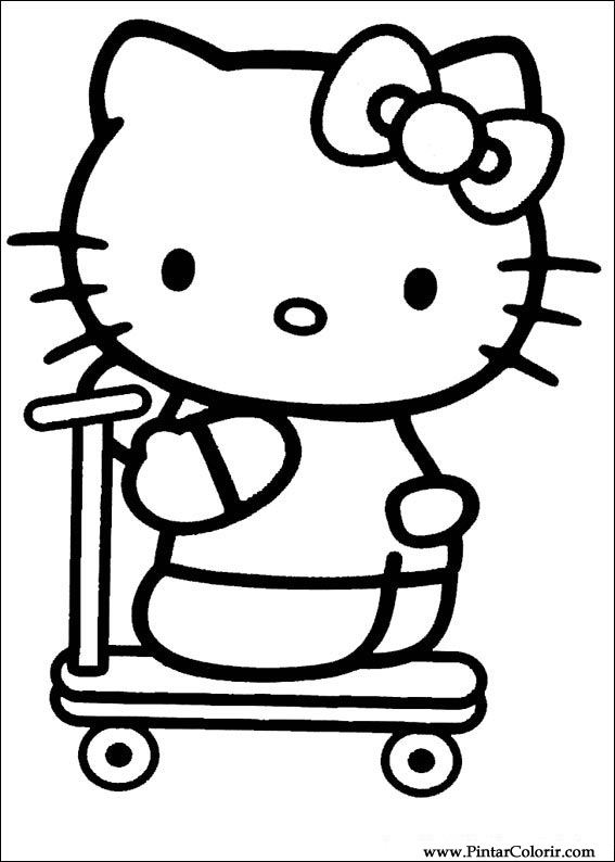 Drawings To Paint & Colour Hello Kitty - Print Design 012