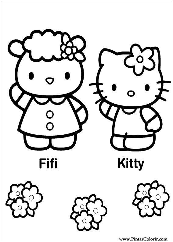 Dibujos para pintar y Color Hello Kitty  Diseo de impresin 027
