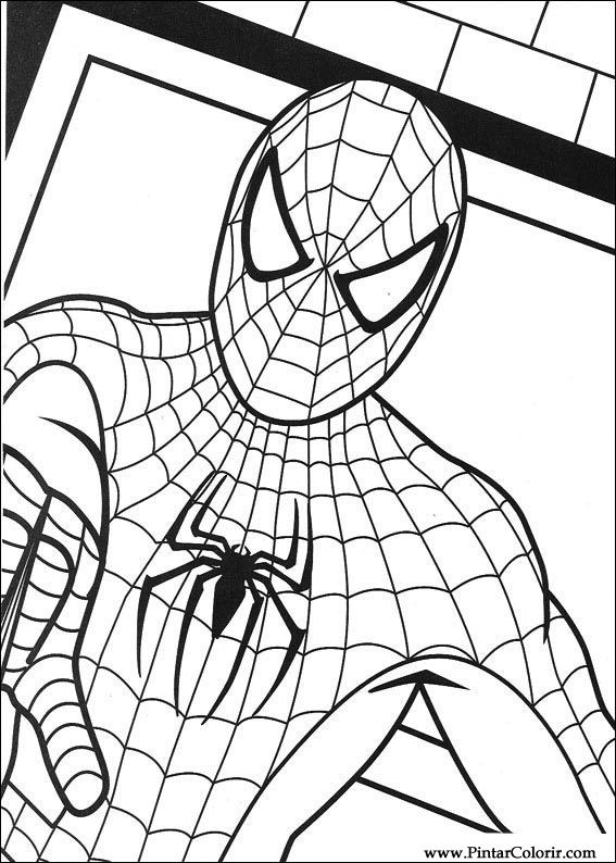Drawings To Paint amp Colour Spiderman Print Design 012