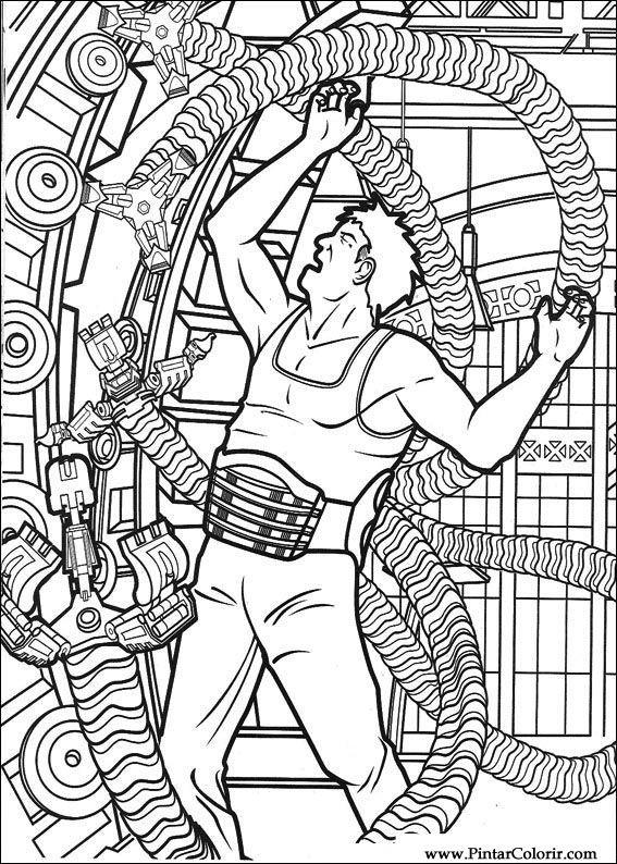 Tekeningen te schilderen Kleur Spiderman Print Design 022
