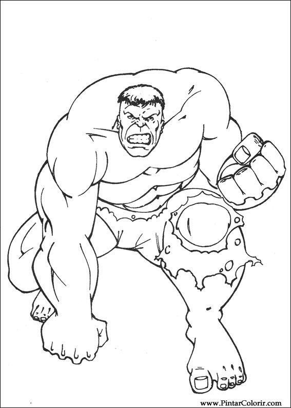 Dibujos para pintar y colorear Hulk  Pgina 8