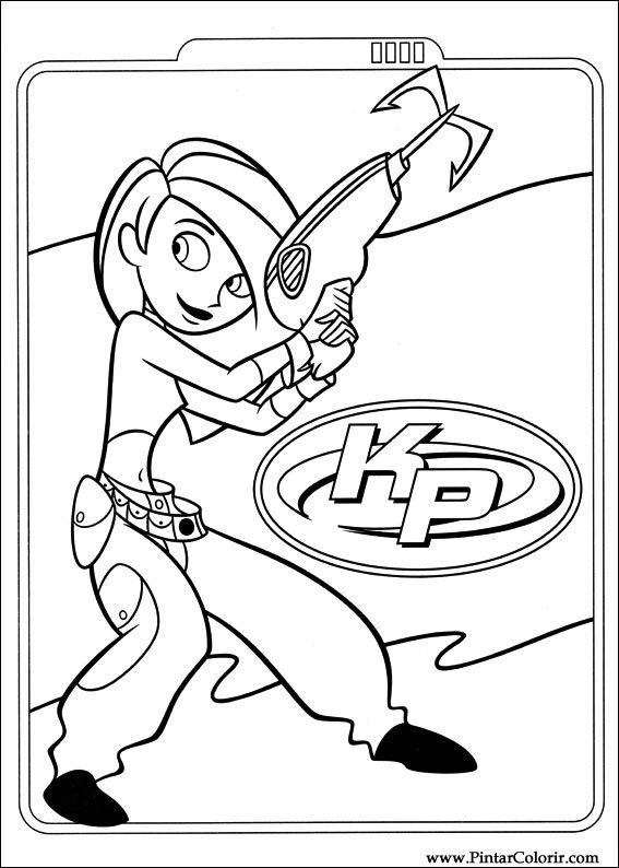 Drawings to paint colour kim possible print design 001 for Kim possible coloring pages to print