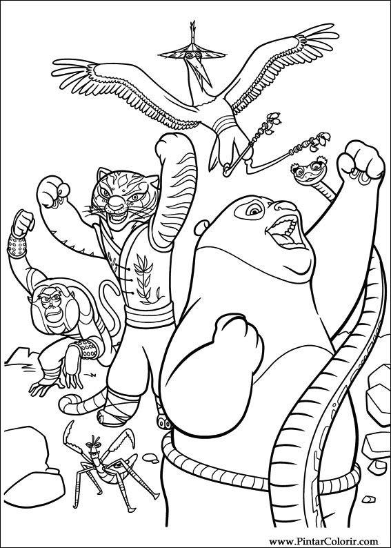 Dibujos para pintar y Color Kung Fu Panda 2 - Diseño de impresión 002
