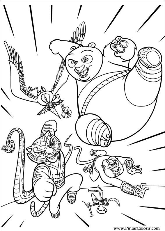 Dibujos para pintar y Color Kung Fu Panda 2 - Diseño de impresión 010