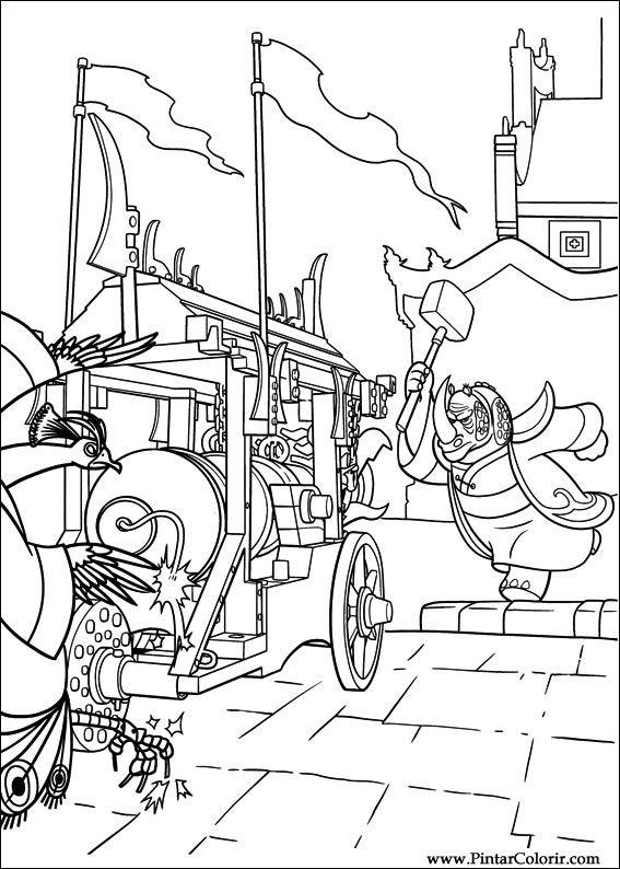 Dibujos para pintar y Color Kung Fu Panda 2 - Diseño de impresión 011