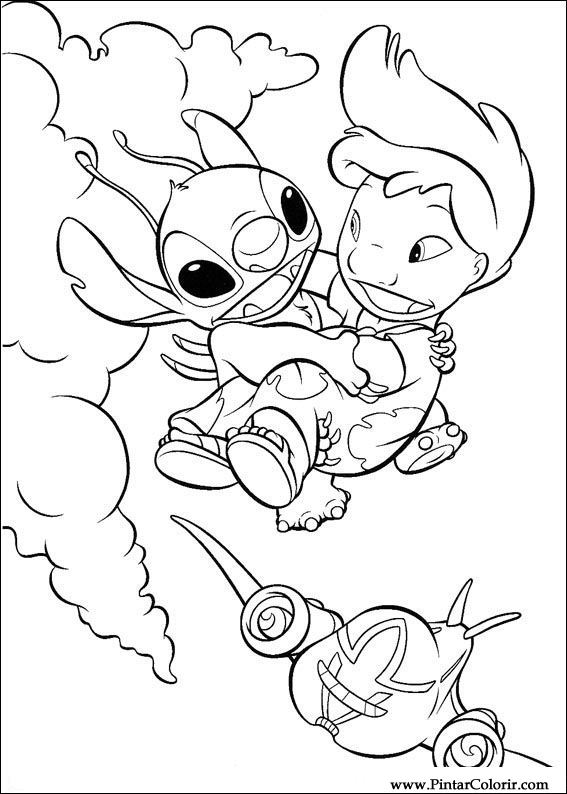 Drawings to paint colour lilo and stitch print design 021 for Lilo and stitch coloring book pages