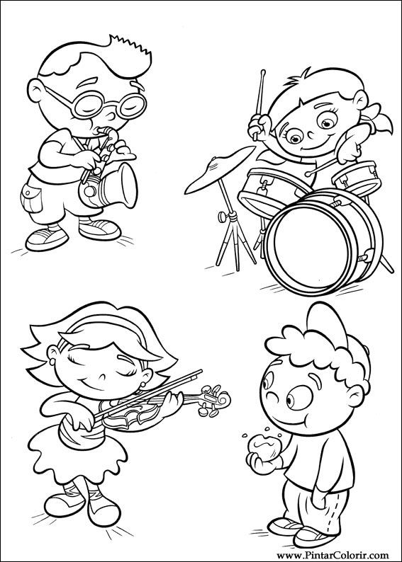 Dibujos para pintar y color little einsteins dise o de - Dessin musicien ...