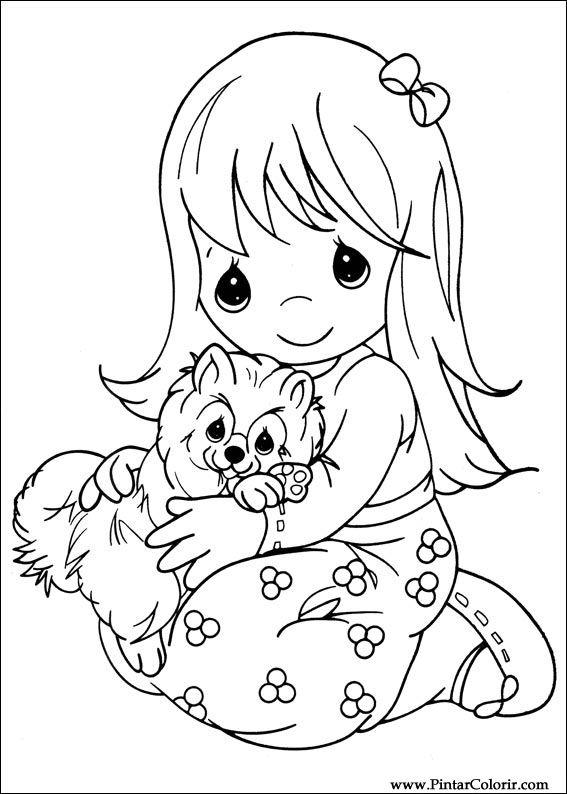 Dibujos para pintar y Color Precious Moments - Diseño de impresión 014