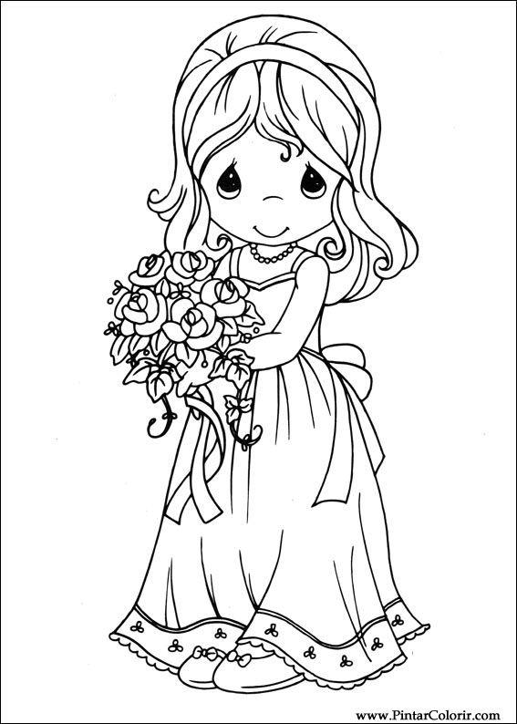Dibujos para pintar y Color Precious Moments - Diseño de impresión 028