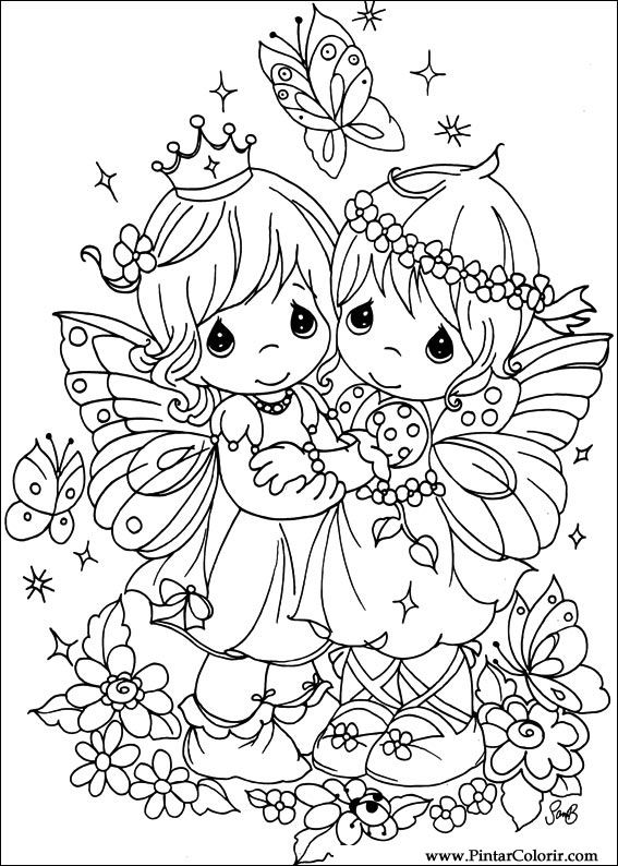Drawings to paint colour precious moments print design 043 for Precious moments angel coloring pages