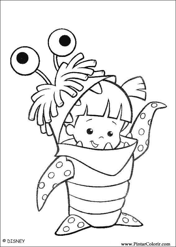 Tekeningen te schilderen kleur monsters inc print design 018 - Monster verf ...