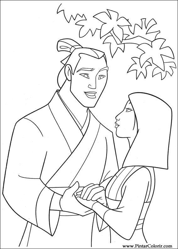 Dessins de peindre et couleur mulan imprimer conception 003 for Princess mulan coloring pages