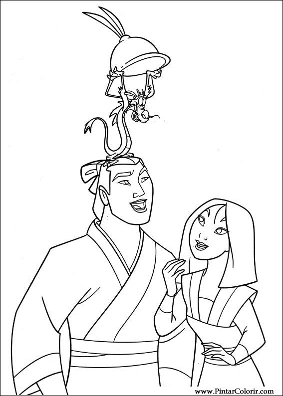 Drawings To Paint Amp Colour Mulan Print Design 033