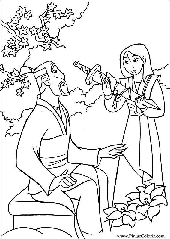 mulan coloring pages free - drawings to paint colour mulan print design 034