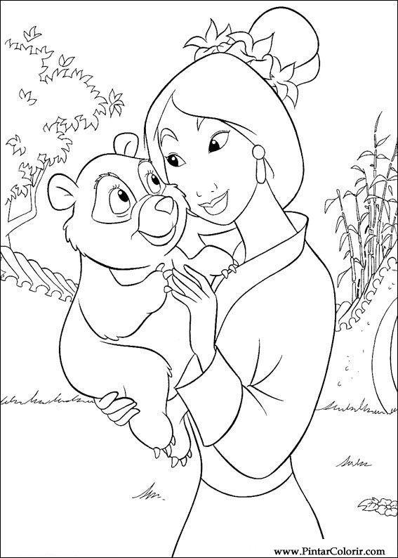 Dibujos para pintar y Color Mulan - Diseño de impresión 057