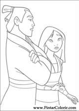Pintar e Colorir Mulan - Desenho 007
