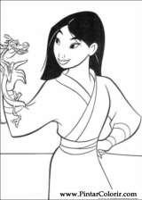 Pintar e Colorir Mulan - Desenho 050