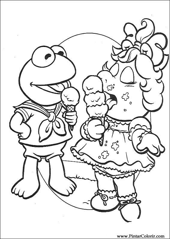 Drawings To Paint & Colour Muppet Babies - Print Design 050