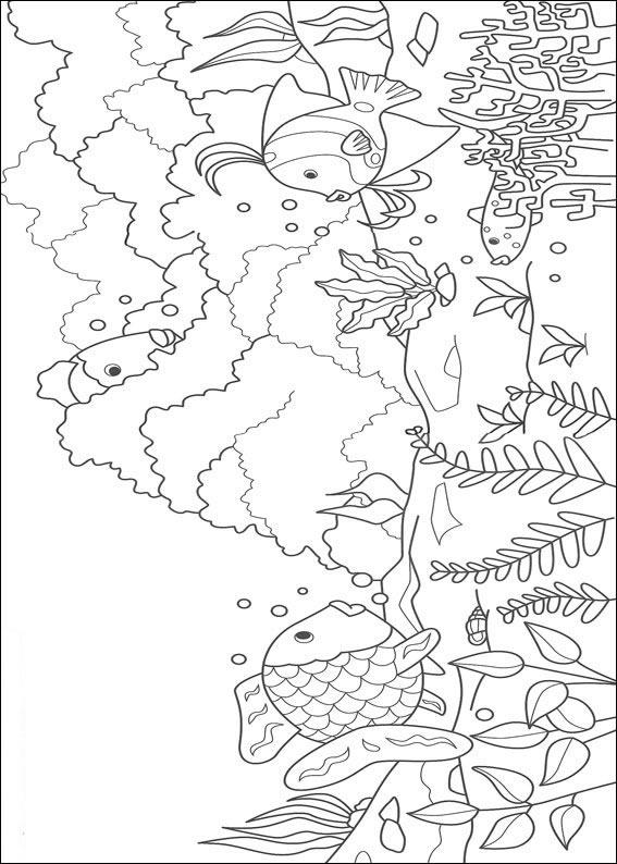 Dibujos para pintar y Color El Pez Arco Iris - Diseño de impresión 002