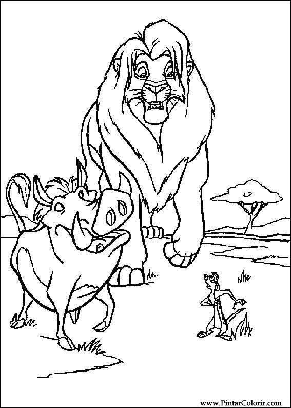 Dibujos para pintar y Color rey len 3  Diseo de impresin 006
