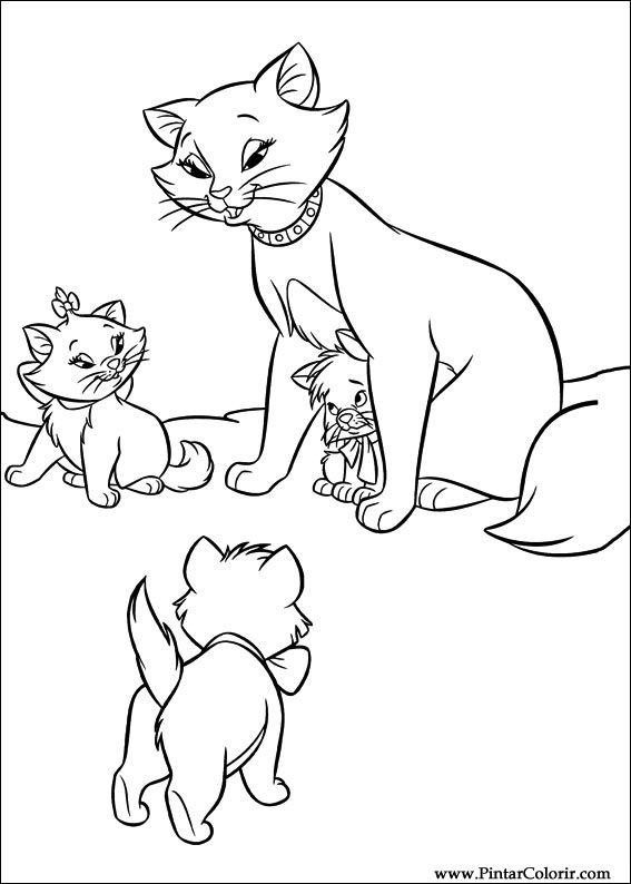 tekeningen te schilderen colour the aristocats print design 007
