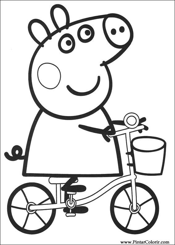 Drawings To Paint  Colour Peppa Pig  Print Design 002