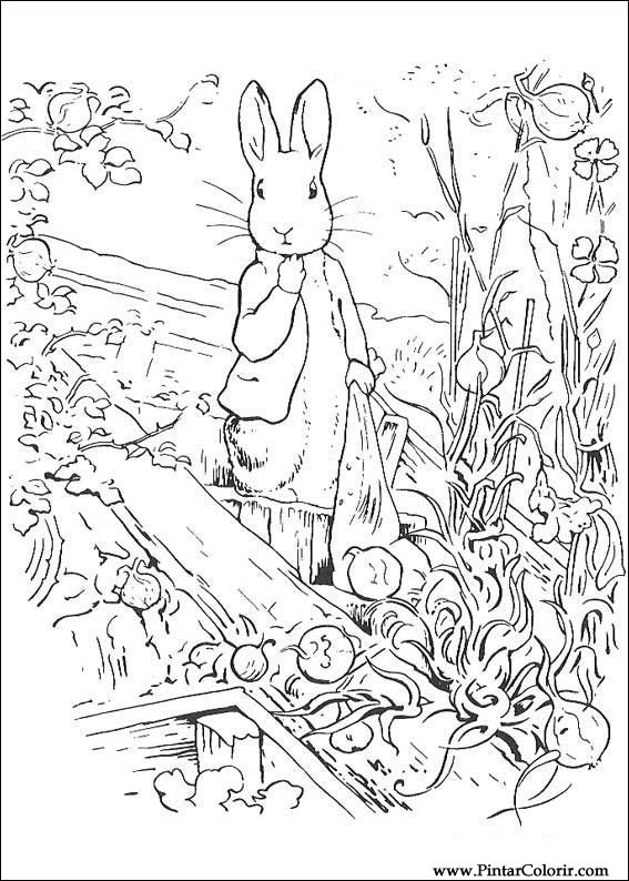Drawings To Paint & Colour Peter Rabbit - Print Design 016