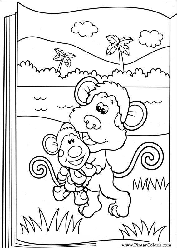Dibujos para pintar y Color Azul pistas - Imprimir Diseño 043