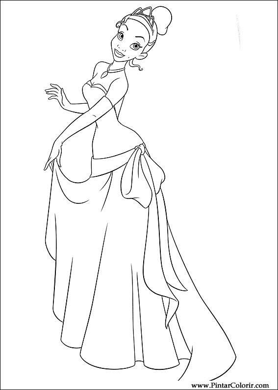 Tekeningen te schilderen kleur prinses kikker print for Tiana coloring pages
