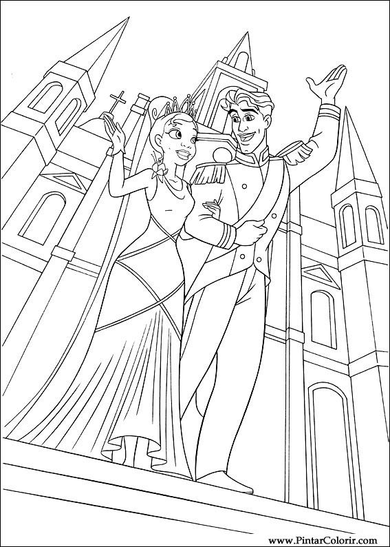Drawings to paint colour princess frog print design 061 for Coloring pages princess and the frog