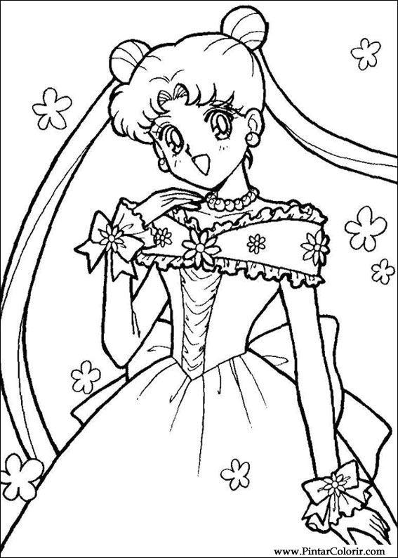Zeichnungen zu malen und farbe sailor moon print design 012 - Coloriage manga rock ...