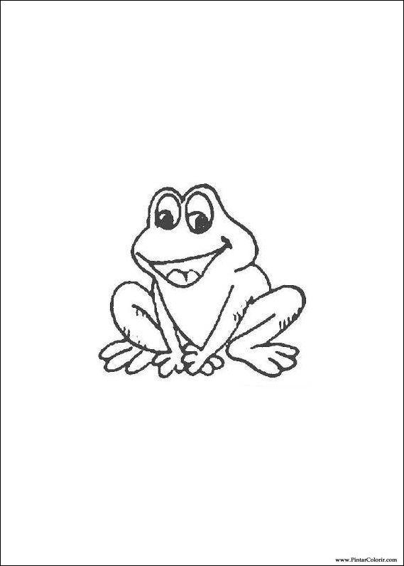Dibujos para pintar y Color de la rana - Diseño de impresión 013
