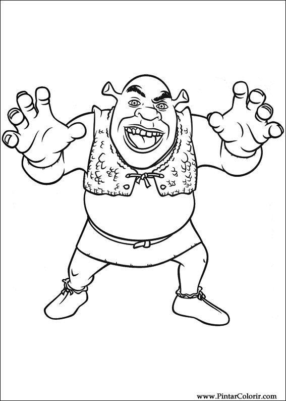 Dibujos para pintar y Color Shrek Forever After - Diseño 020 Imprimir