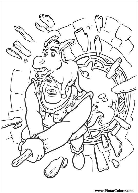 Dibujos para pintar y Color Shrek Forever After - Diseño 053 Imprimir