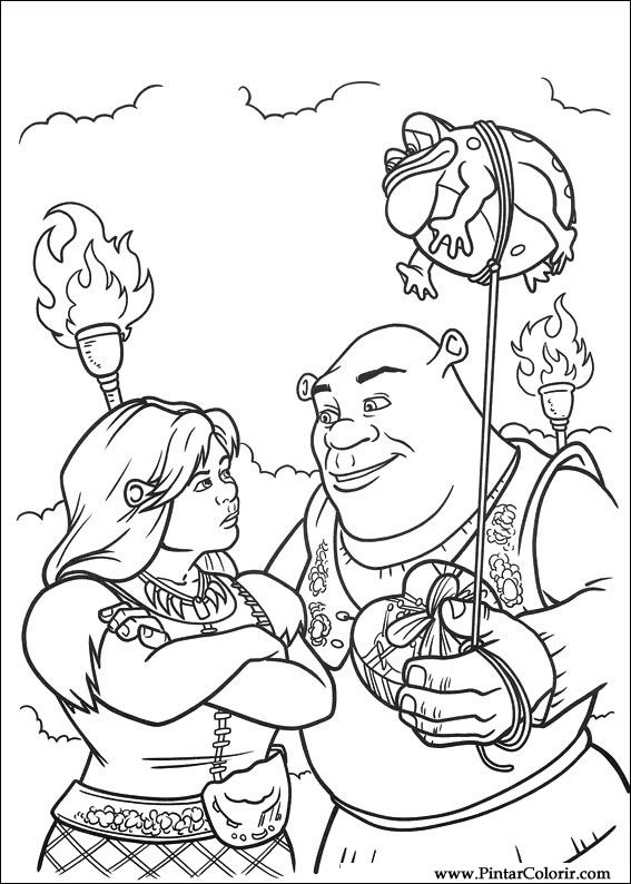 Drawings to paint colour shrek forever after print for Shrek dragon coloring pages