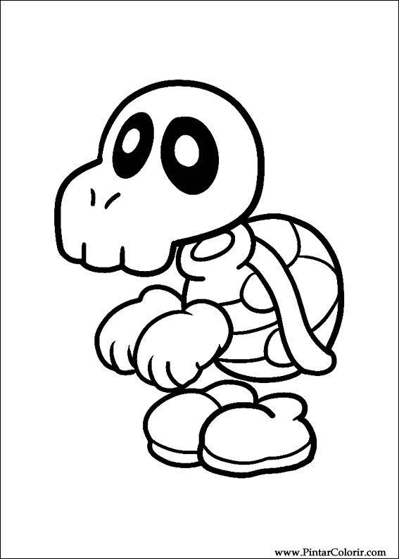 Dibujos para pintar y Color Super Mario Bros - Diseño de impresión 003