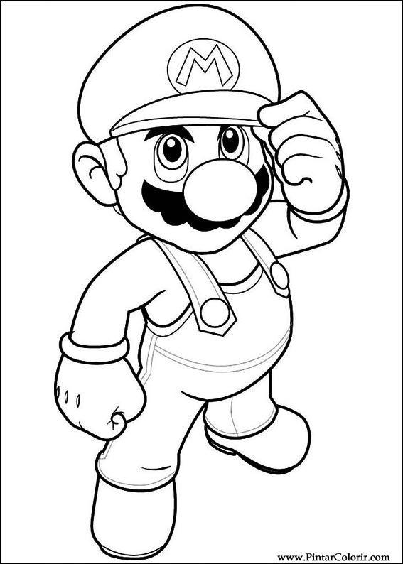 Dibujos para pintar y Color Super Mario Bros - Diseño de impresión 016