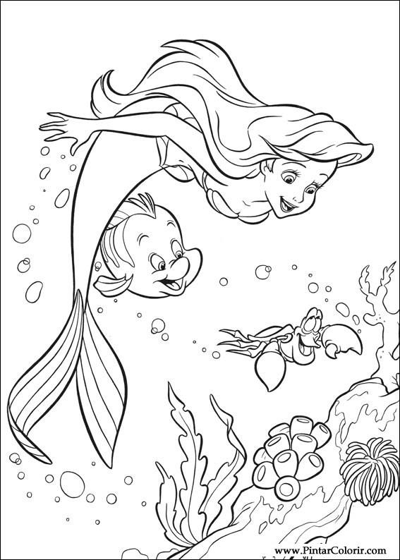 Σχέδια να Paint & Χρώμα Η Μικρή Γοργόνα - Σχεδιασμός Εκτύπωση 002