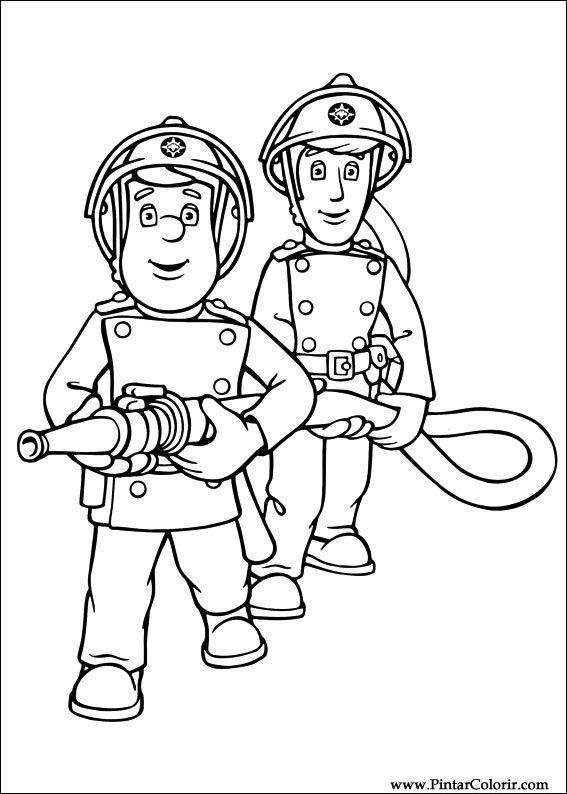 Zeichnungen zu malen und Farbe Feuerwehrmann Sam - Print Design 007