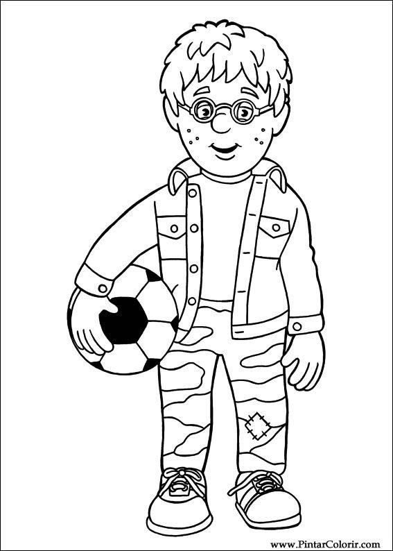 Dibujos para pintar y Color Fireman Sam - Diseño de impresión 011