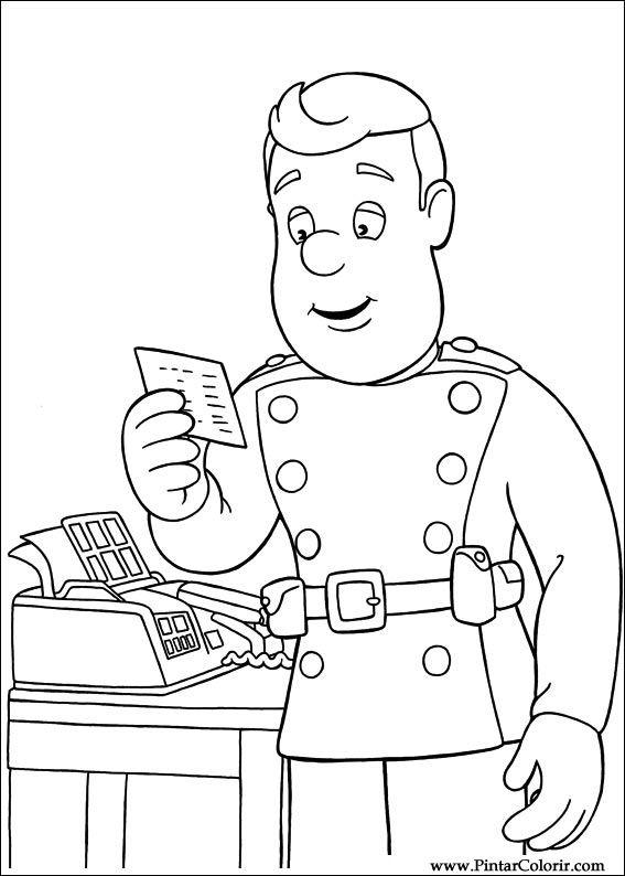 Zeichnungen zu malen und Farbe Feuerwehrmann Sam - Print Design 026