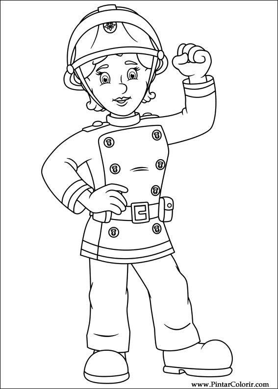 Dibujos para pintar y Color Fireman Sam - Diseño de impresión 064