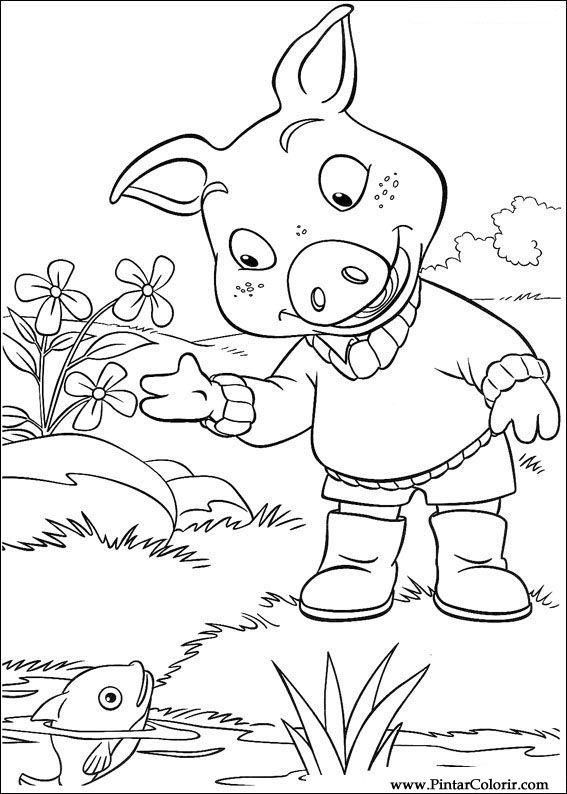 Dibujos para pintar y Color Piggley Winks - Diseño de impresión 005