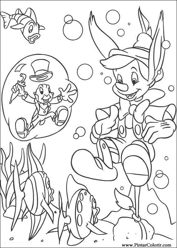 dibujos para pintar y color pinoquio diseño de impresión 019