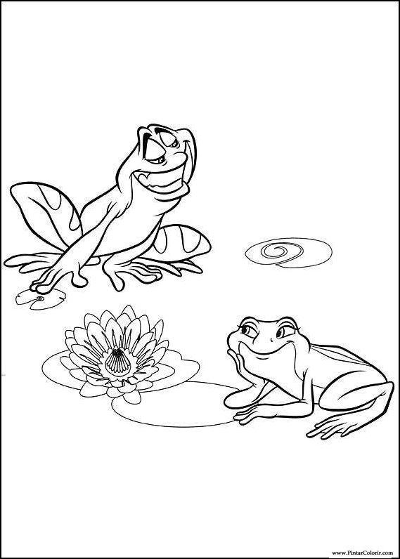 Dibujos para pintar y Color de la rana - Diseño de impresión 001
